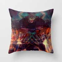 scary Throw Pillows featuring Scary by WDeluxe