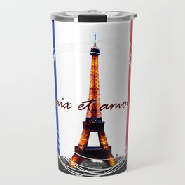 Peace and Love in France Travel Mug