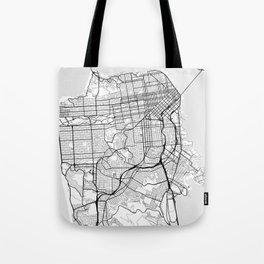 Scandinavian map of San Francisco Penninsula Tote Bag