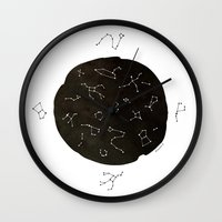 constellations Wall Clocks featuring Constellations by Roxanne Bee