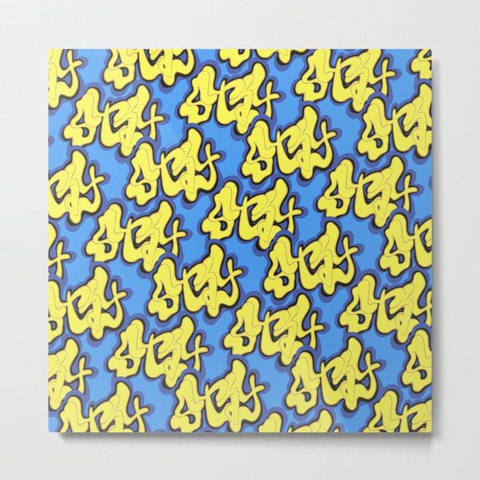 Stay Graffiti Pattern - Blue Honey Metal Print