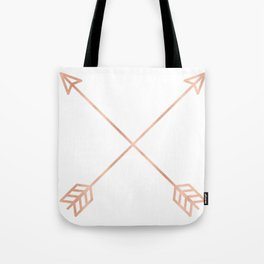 Rose Gold Arrows on White Tote Bag