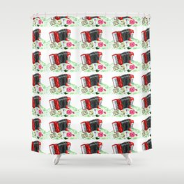 Retro red accordion Shower Curtain