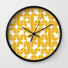 Mid Century Modern Geometric Pattern Yellow Wall Clock