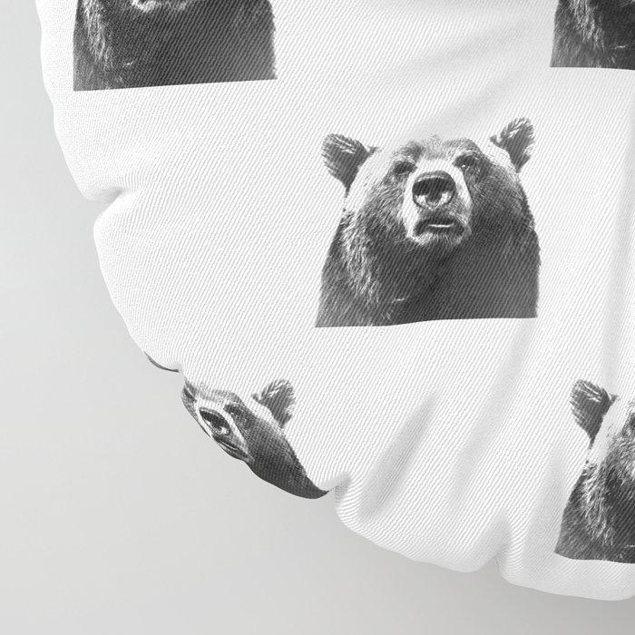 Black and white bear portrait Floor Pillow