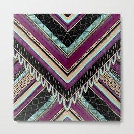 Tribal Feather Chevron Metal Print