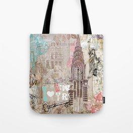 Vintage collage brown pink typography New York Landmark Tote Bag