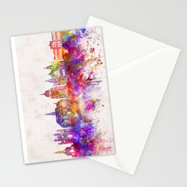 Cluj-Napoca skyline in watercolor background Stationery Cards