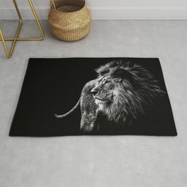 Lion Portrait in black and white Rug