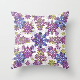 Stylized Floral Ornate Pattern Throw Pillow