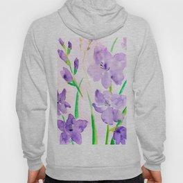 Watercolor blue flowers  gladiolus  Hoody