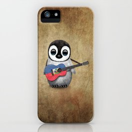 Baby Penguin Playing Haitian Flag Acoustic Guitar iPhone Case