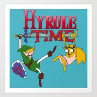 hyrule Art Prints featuring Hyrule Time by Marcos Raya Delgado