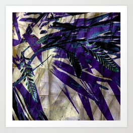 Crocosmia Shimmer in Champagne, Violet, Teal Art Print