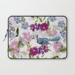 Vintage & Shabby Chic - Blue Jay and Flowers Laptop Sleeve