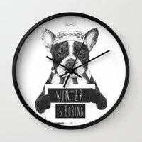 snowboarding Wall Clocks featuring Winter is boring by Balazs Solti