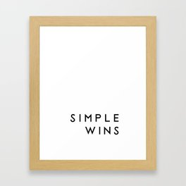 Simple wins typography in white Framed Art Print