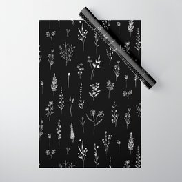 Black wildflowers Wrapping Paper