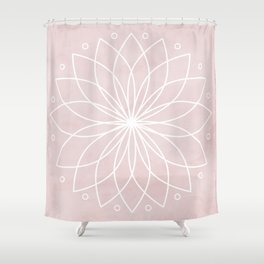 Mandala on Pink Watercolor Background Shower Curtain