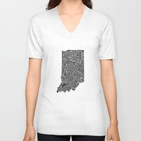 indiana V-neck T-shirts featuring Typographic Indiana by CAPow!
