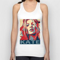 kate moss Tank Tops featuring Kate moss by Christophe Chiozzi
