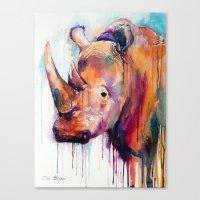 rhino Canvas Prints featuring Rhino by Slaveika Aladjova
