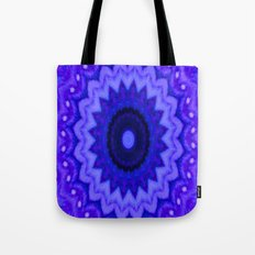 Lovely Healing Mandala  in Brilliant Colors: Black, Purple, and Blue Tote Bag