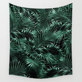 Tropical Palm Leaf Jungle Night #1 #tropical #decor #art #society6 Wall Tapestry