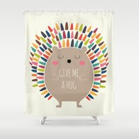 hug Shower Curtains featuring Give Me A Hug by Andy Westface