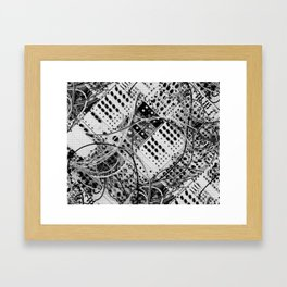 analog synthesizer  - diagonal black and white illustration Framed Art Print