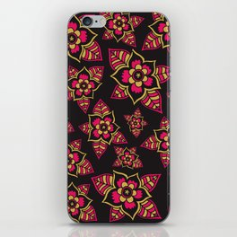 Pink yellow black hand painted modern floral iPhone Skin