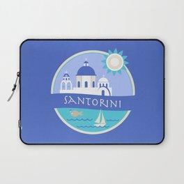 Santorini Greece Badge Laptop Sleeve