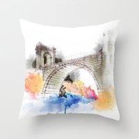bridge Throw Pillows featuring bridge by emegi