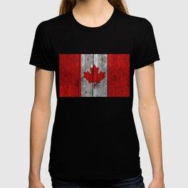Canada flag on heavily textured woodgrain T-shirt