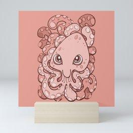 Happy Octopus Squid Kraken Cthulhu Sea Creature - Blooming Dahlia Pink Mini Art Print