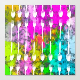 fork and spoon pattern with colorful painting abstract background Canvas Print