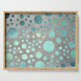 Turquoise Metallic Dots Pattern on Concrete Texture Serving Tray