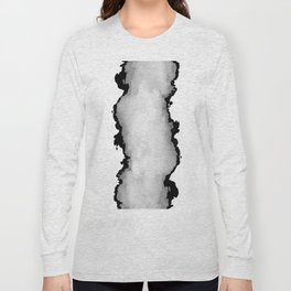White Gray and Black Monochrome Graphic Cloud Effect Long Sleeve T-shirt
