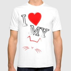 I Love My Cat SMALL Mens Fitted Tee White