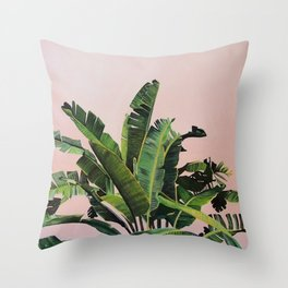Tropical Palm leaves on pink Throw Pillow
