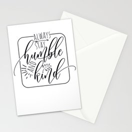 Always Stay Humble and Kind, free spirit, blessed, gifts for her, yoga design Stationery Cards