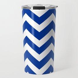 Smalt (Dark powder blue) - blue color - Zigzag Chevron Pattern Travel Mug