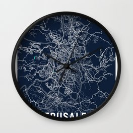 Jerusalem Blue Dark Color City Map Wall Clock