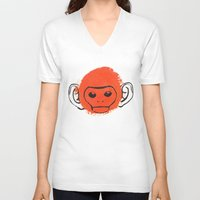 monkey V-neck T-shirts featuring Monkey by James White