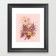 Zentangle, summer rose pink, purple doodle Framed Art Print