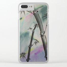 Sumi-E Bamboo in the Rain Clear iPhone Case