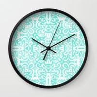 emma stone Wall Clocks featuring Emma by Lisa Argyropoulos