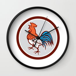 Chicken Rooster Crowing Looking Up Circle Retro Wall Clock