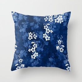 Sakura blossom in deep blue Throw Pillow