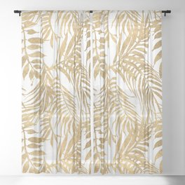 Elegant tropical gold white palm tree leaves floral Sheer Curtain